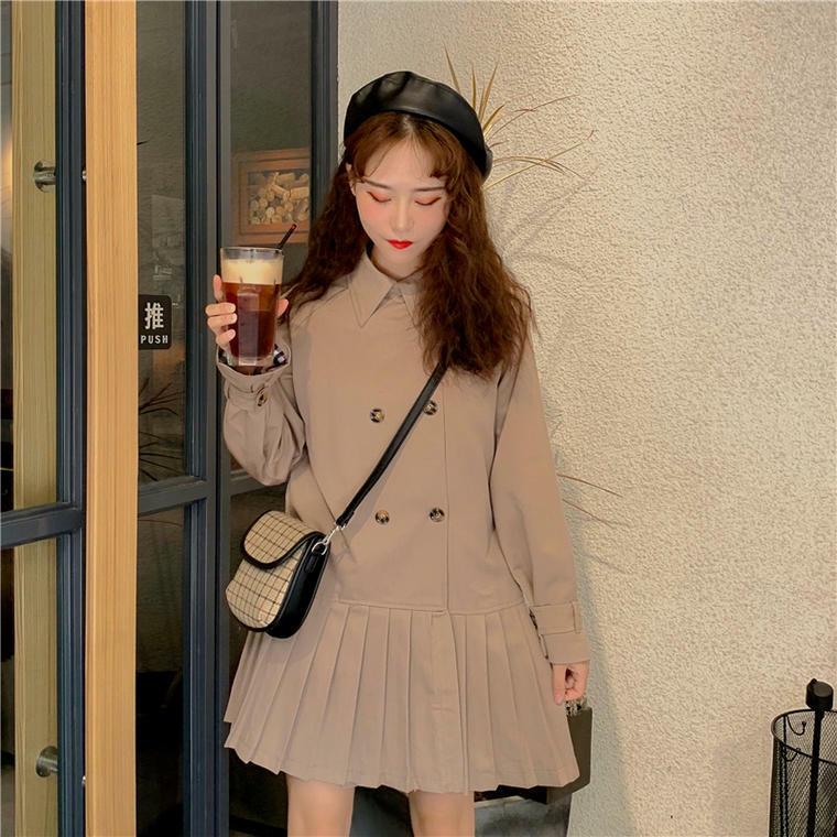 【送料無料】トレンチ風 ♡ 大人可愛い 襟付き プリーツ  Aライン ミニ丈 ワンピース