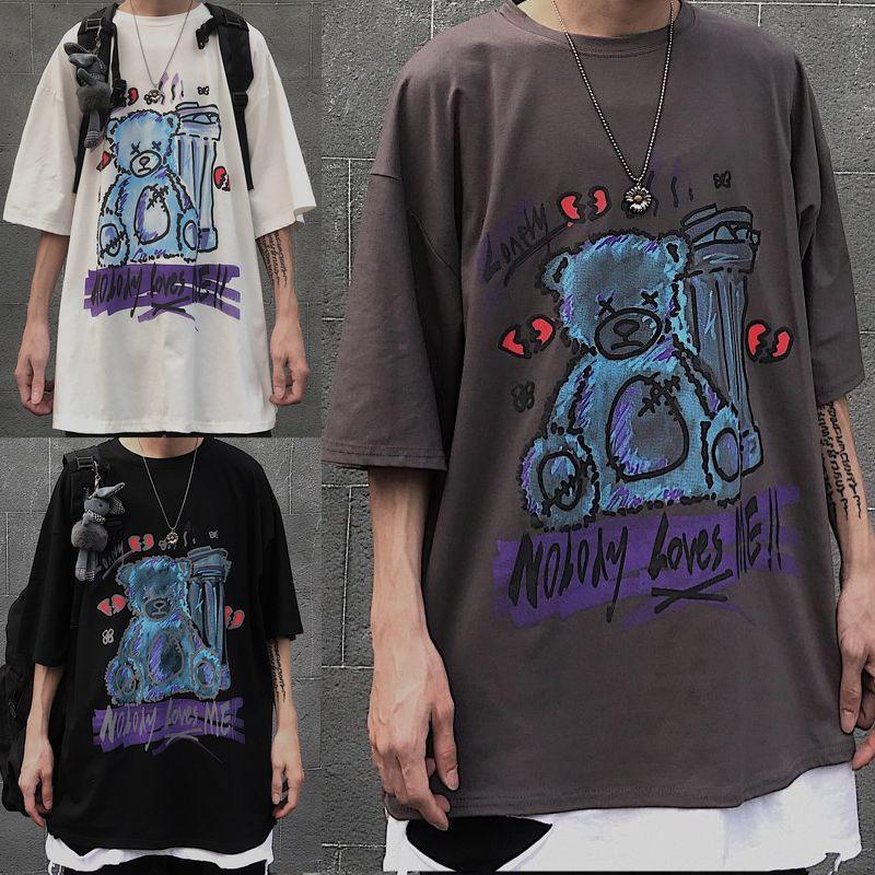 ユニセックス Tシャツ 半袖 メンズ レディース ラウンドネック 落書き風 くまちゃん ベアー プリント オーバーサイズ 大きいサイズ ルーズ ストリート