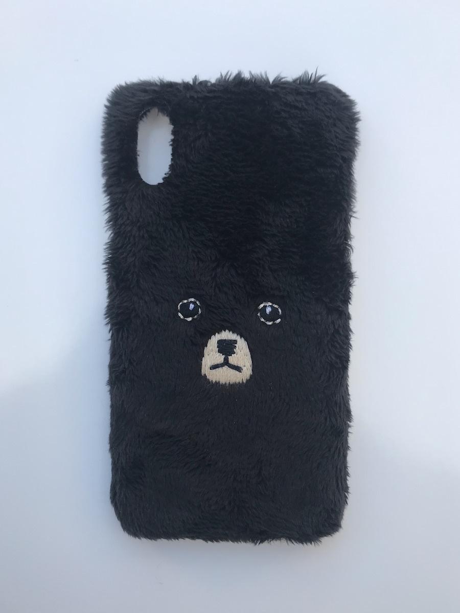 【iPhoneX専用】くまiPhoneケース【ブラック】