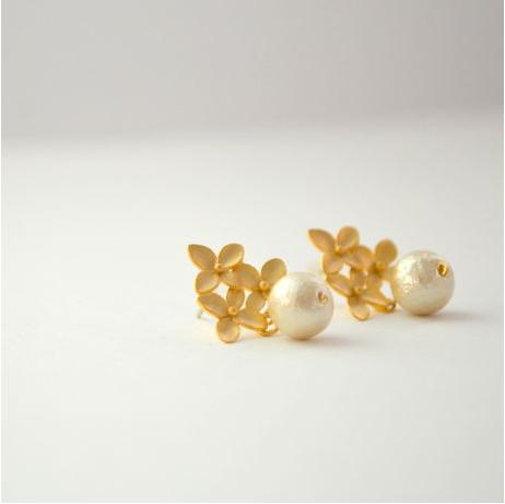 Flower Cotton Pearl Pierce