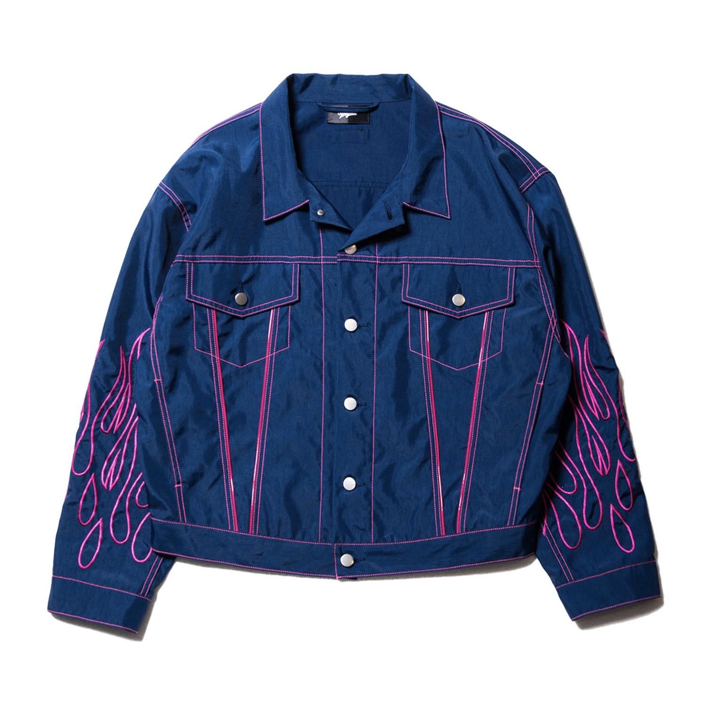 Fire nylon jacket / NAVY - 画像1