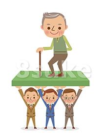 イラスト素材:高齢化社会を支える仕組みイメージ(ベクター・JPG)