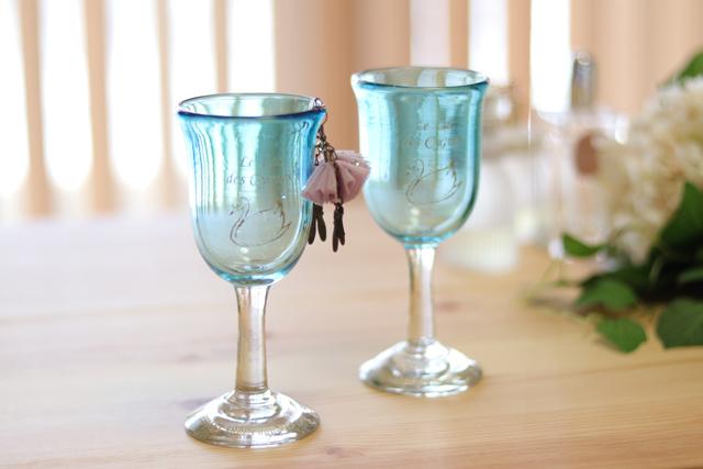 オリジナル琉球ガラス:ワイングラススワンスカイ#2