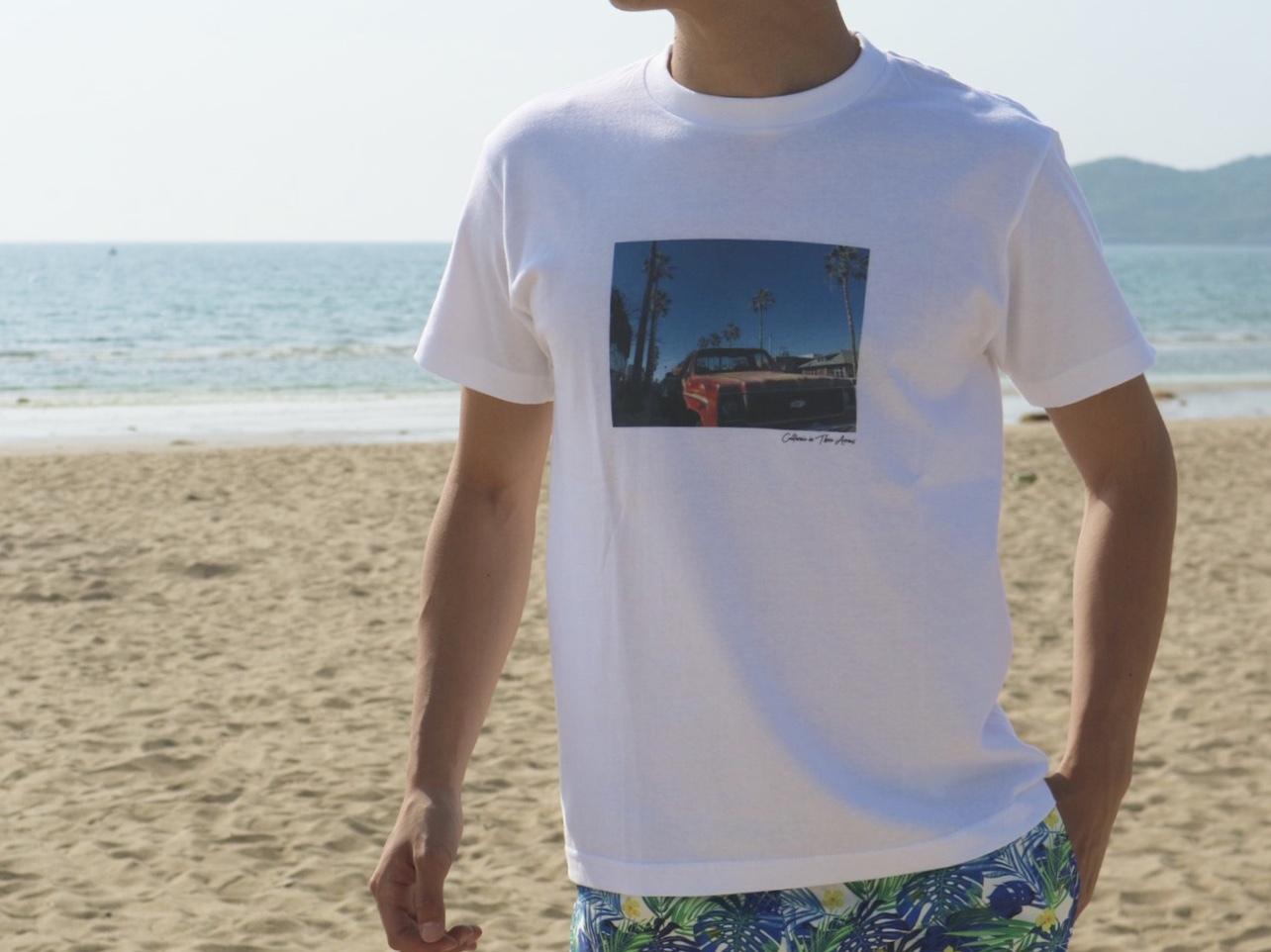 """""""Santa Monica"""" photo Tシャツ(white)"""