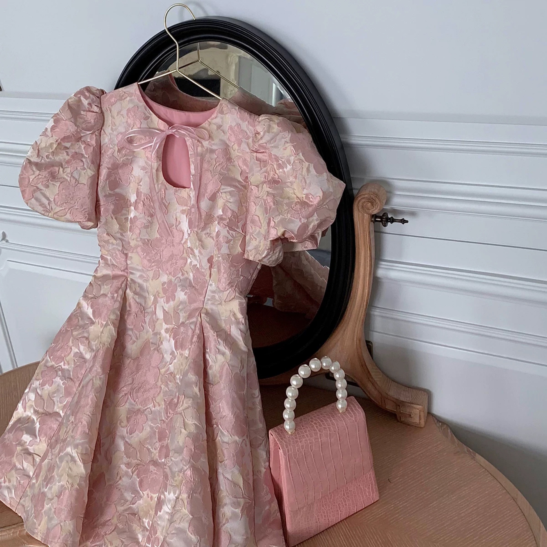 bust cut ribbon pink dress