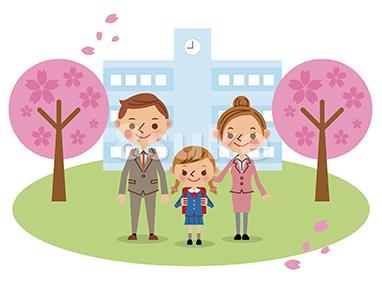 イラスト素材:入学式イメージ/小学生女子+両親(ベクター・JPG)