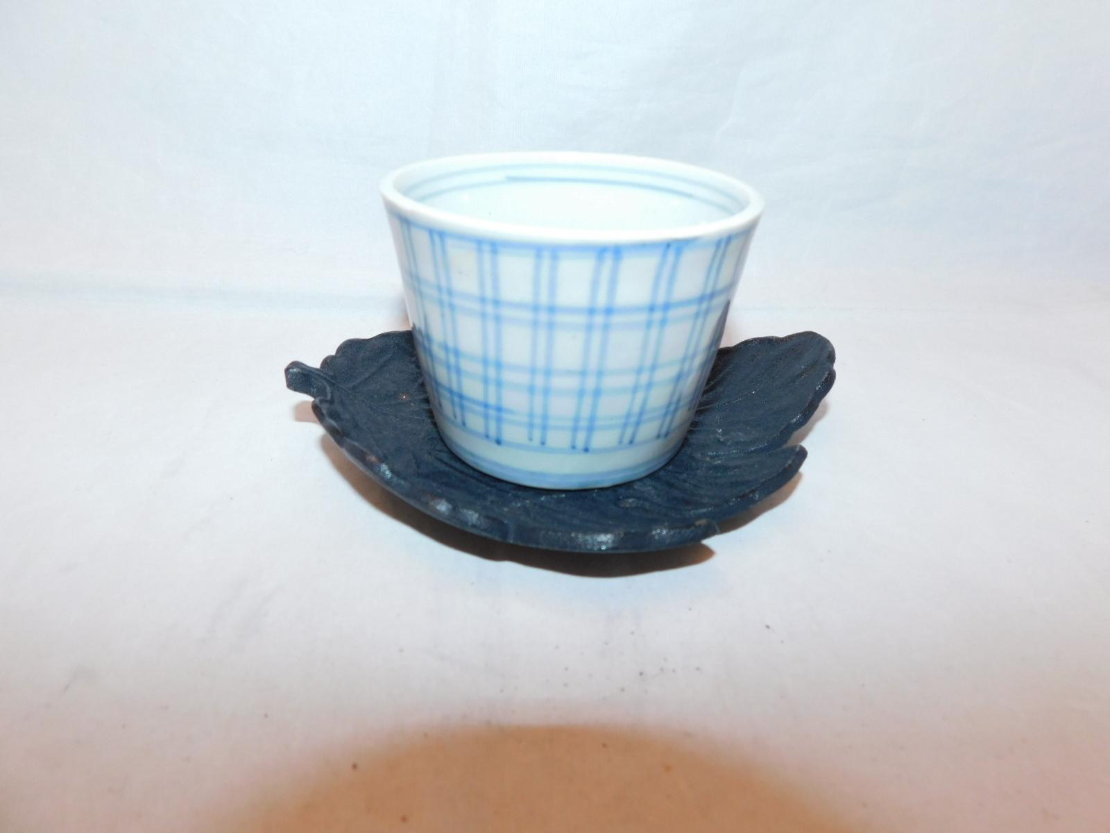 鉄黒色木葉茶托(5客) iron Japanese tea five saucers (No21)