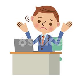 イラスト素材:ノートパソコンを使うビジネスマン/困った表情(ベクター・JPG)