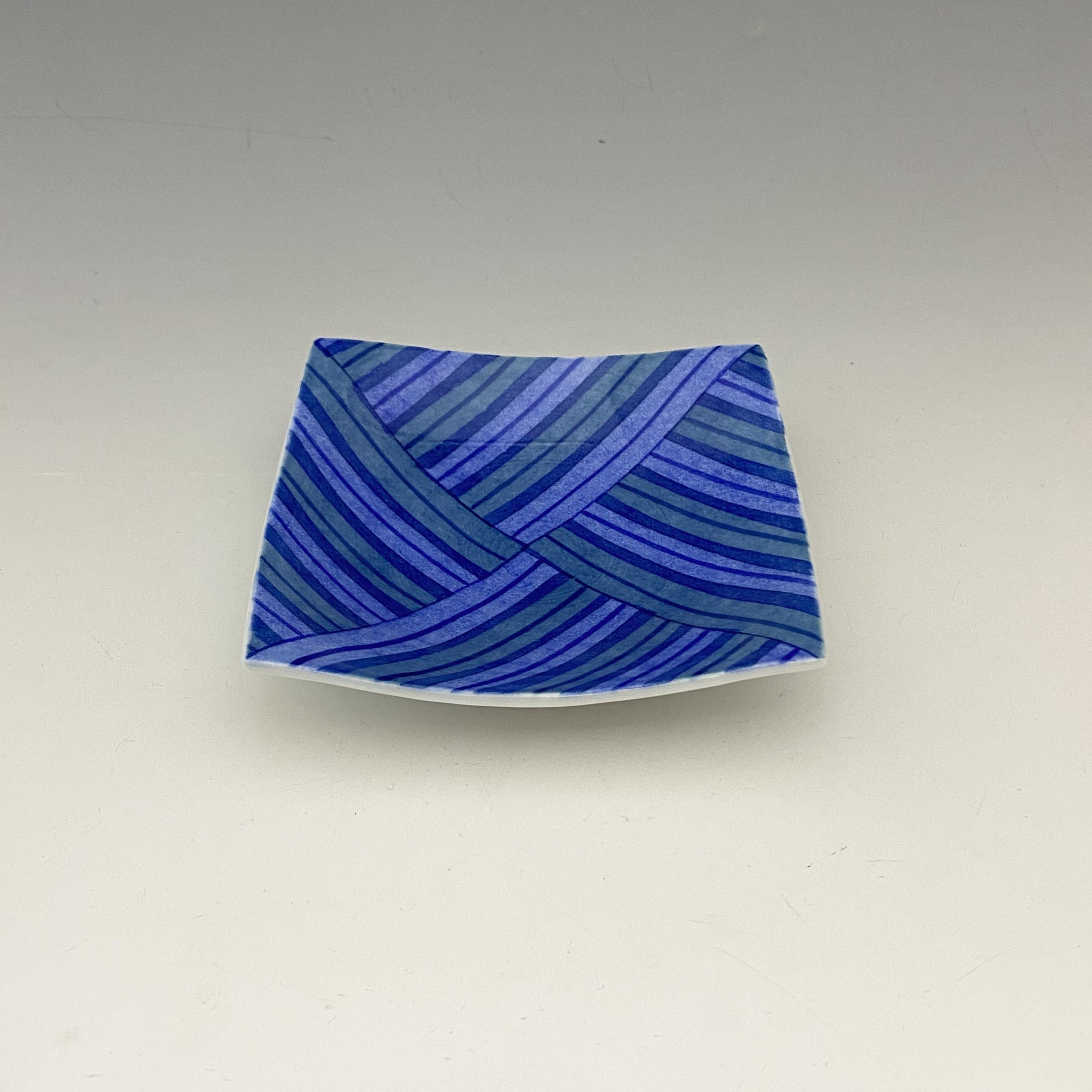 【中尾英純】和紙染ストライプ角小皿