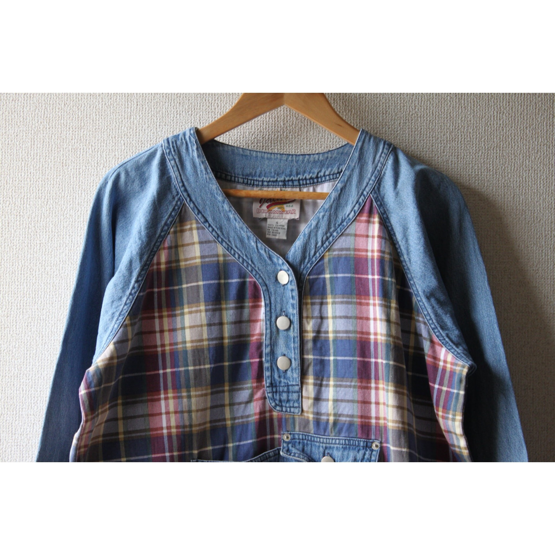 Vintage denim × cotton check pullover jacket
