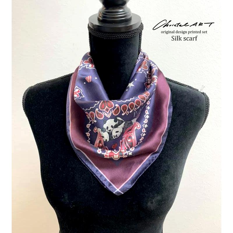 ◆新作即納◆小判シルクスカーフ「ペイズリーパンダ」柄50cm角