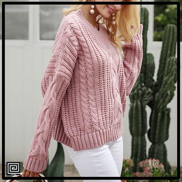 プルオーバーロングスリーブセーター