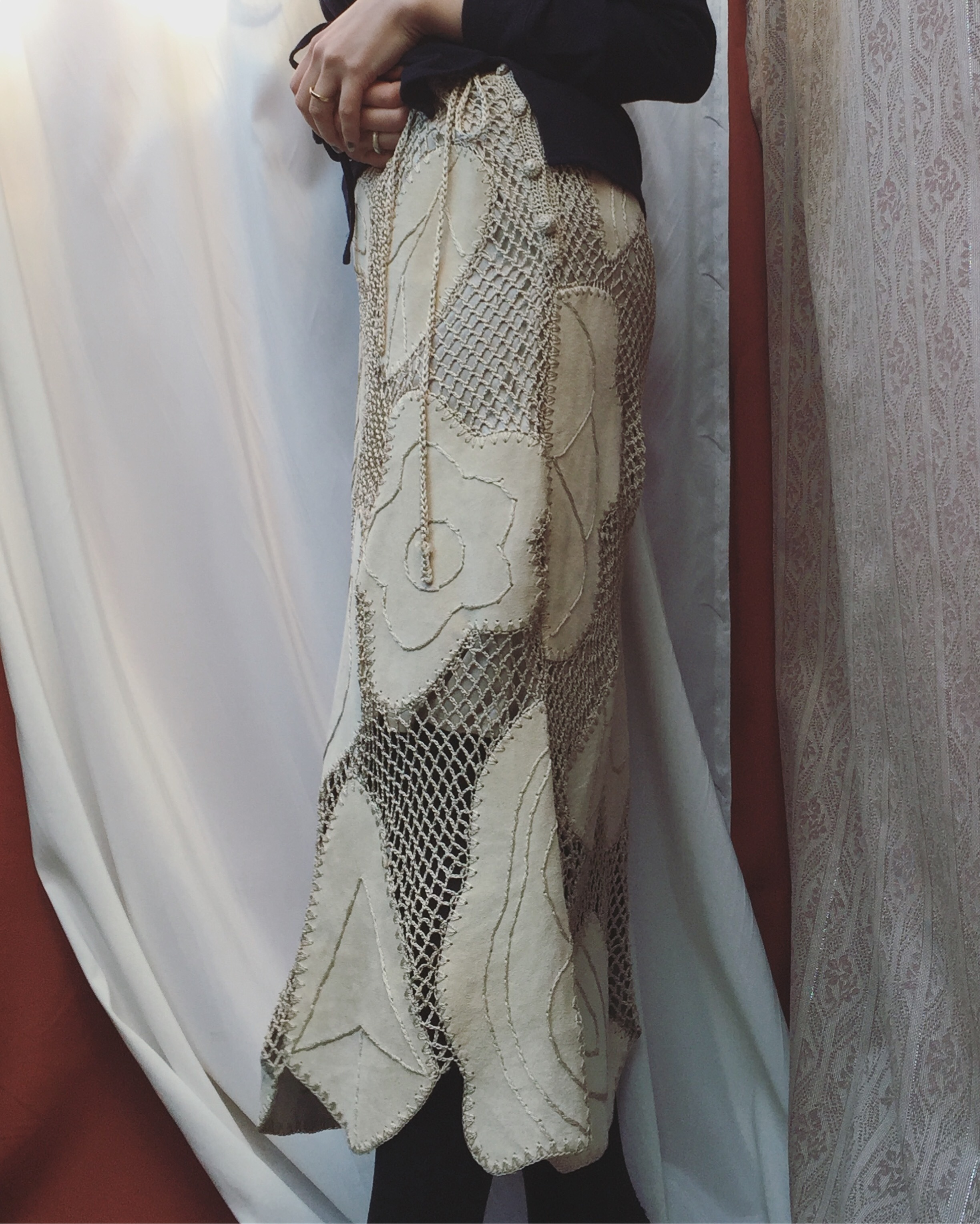 vintage mesh design skirt