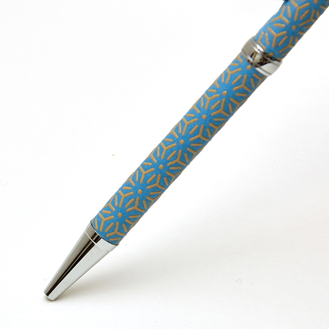 印伝油性ボールペン 麻の葉 青革×白漆