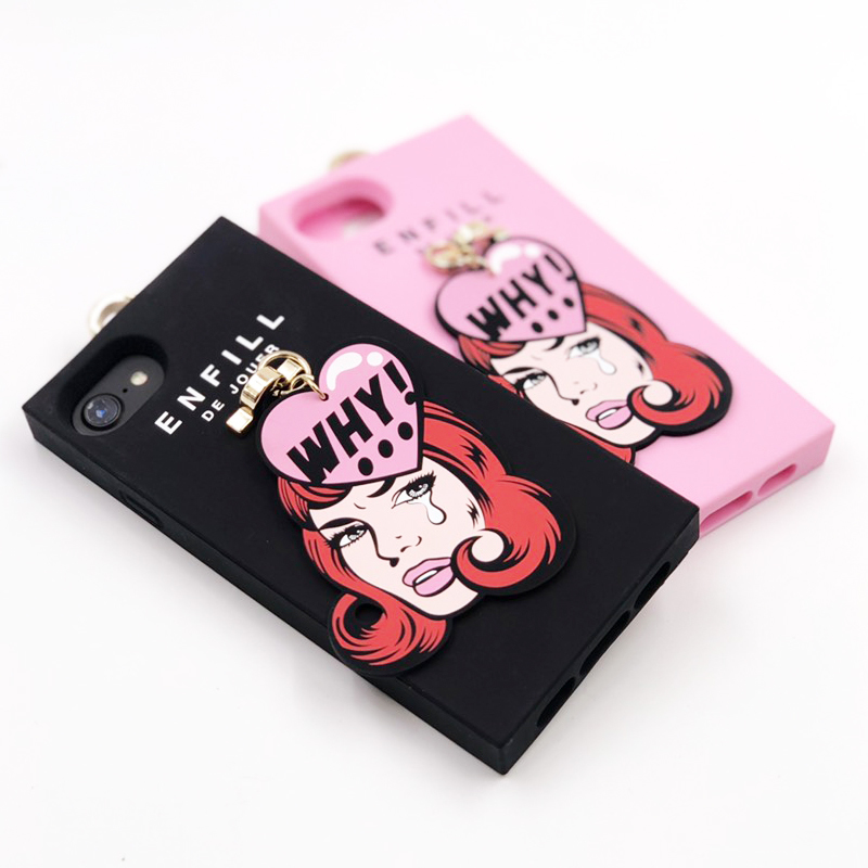 """HANDING CASE with PRINTED CHARM """"GIRL'S TALK 「WHY!」"""" for iPhone8/7/6s/6"""