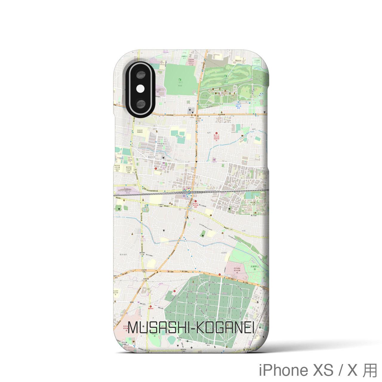 【武蔵小金井】地図柄iPhoneケース(バックカバータイプ・ナチュラル)