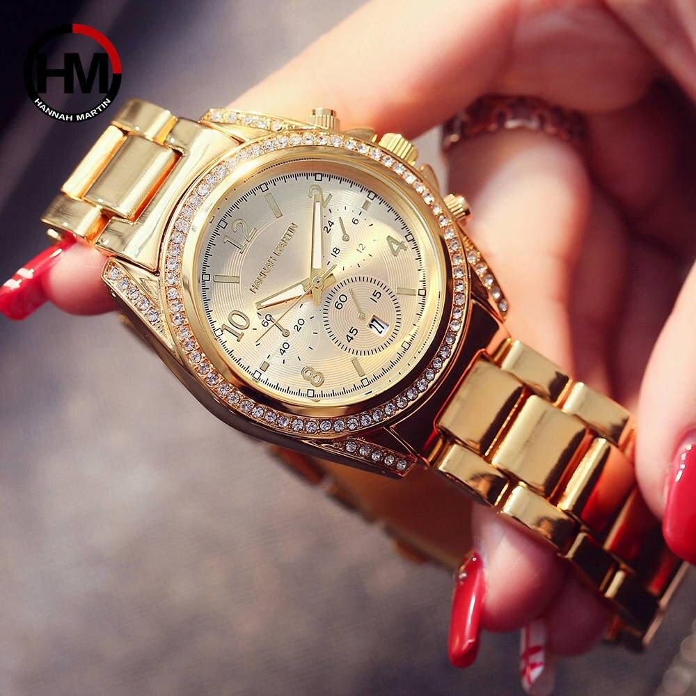 ローズゴールドトップラグジュアリーブランドの女性ラインストーン時計モントレファムカレンダー防水ファッションドレスレディース時計1107 gold