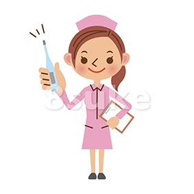 イラスト素材:体温計を持つ看護師/ナース(ベクター・JPG)