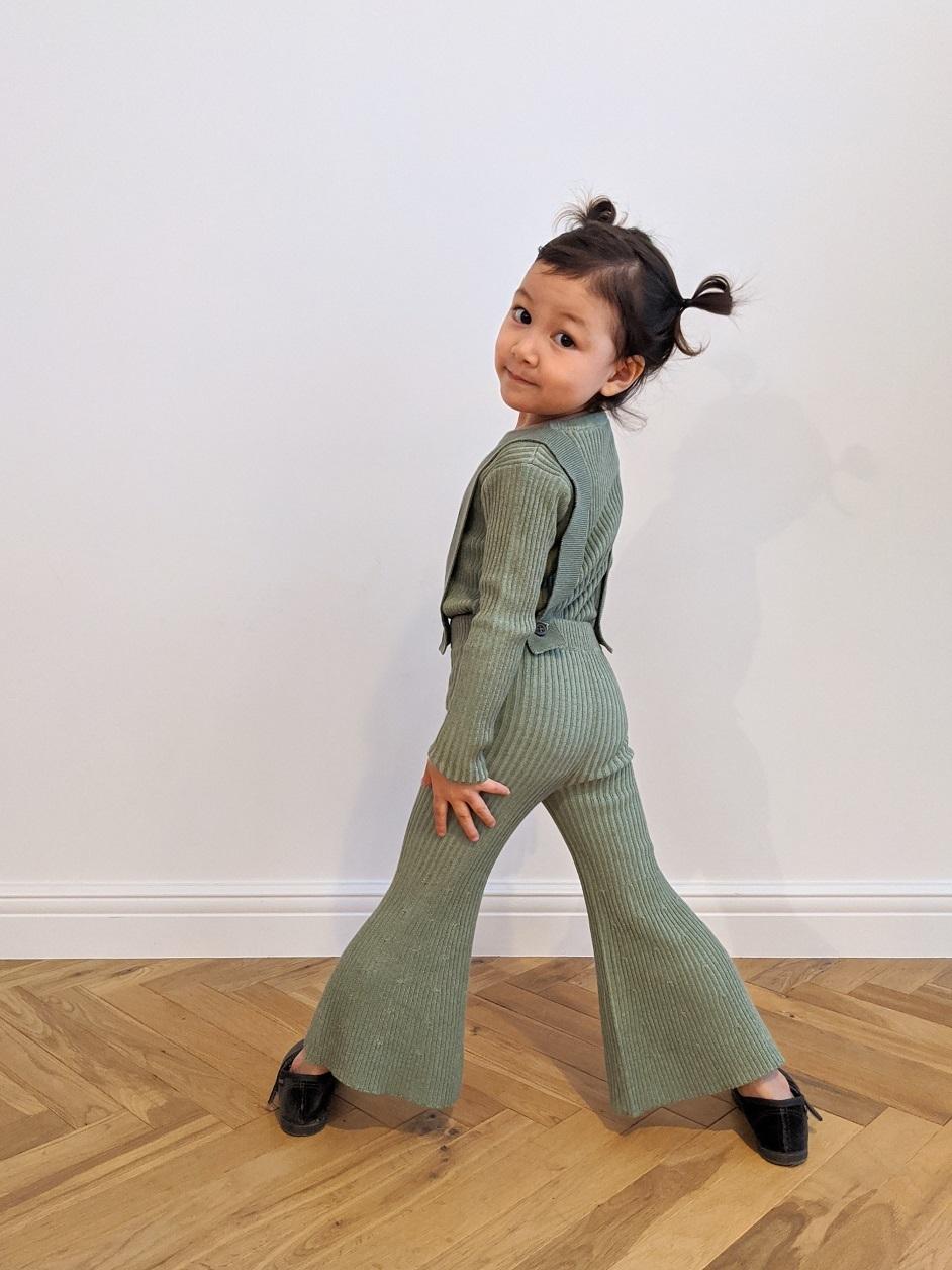 Kids Knit Bell Bottoms - Mint Green