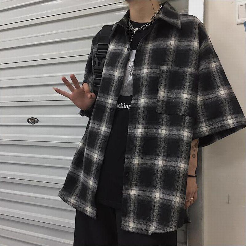 ユニセックス チェックシャツ 半袖 メンズ レディース チェック柄 オーバーサイズ 大きいサイズ ルーズ ストリート