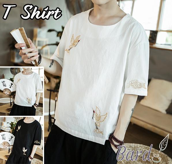 半袖Tシャツ チャイナ服 メンズ 夏服 薄手 刺繍 Tシャツ クルーネック メンズファッション トップス カジュアルTシャツ