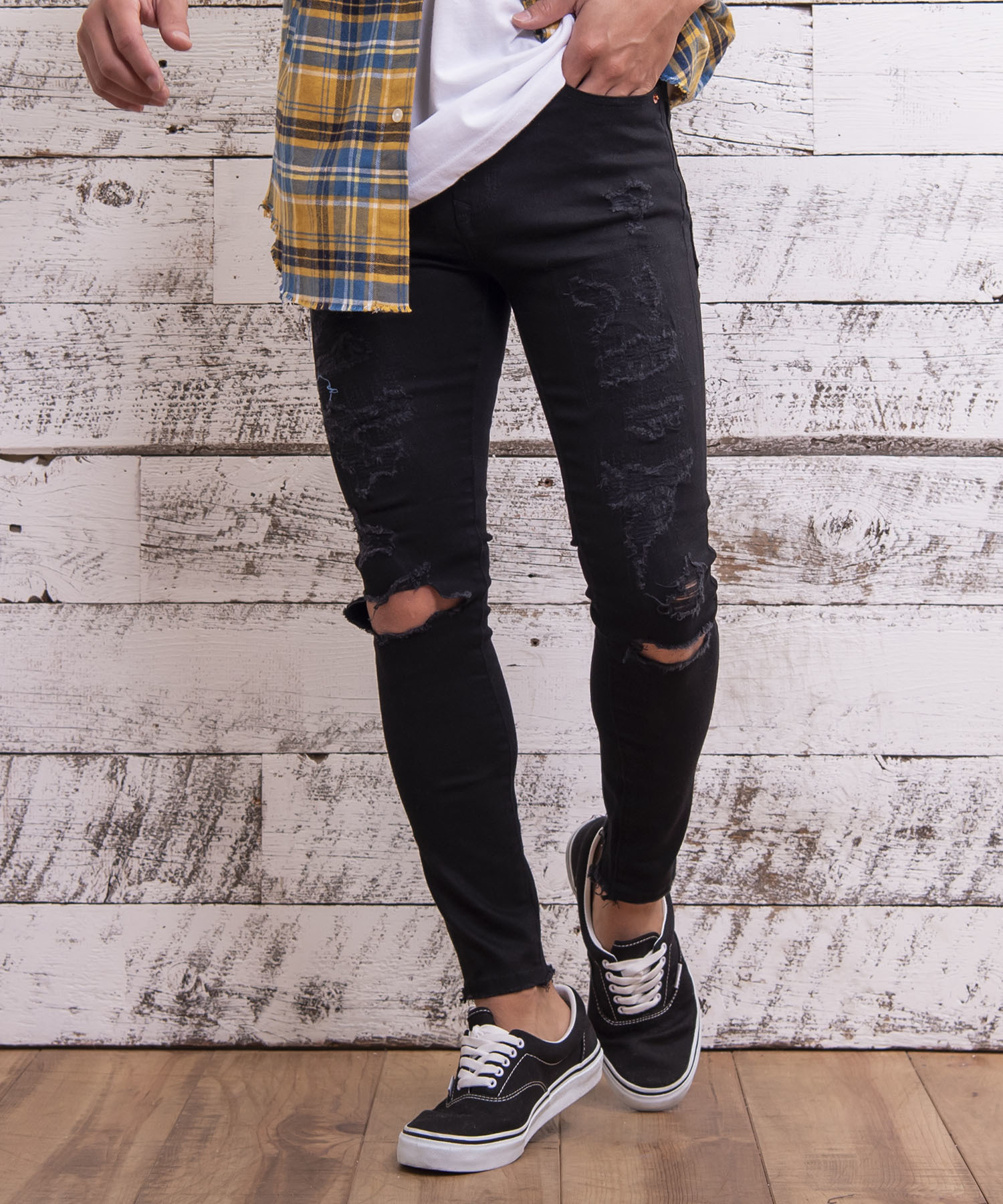 VINTAGE REMAKE SUPER SKINNY BLACK PANTS[REP047]