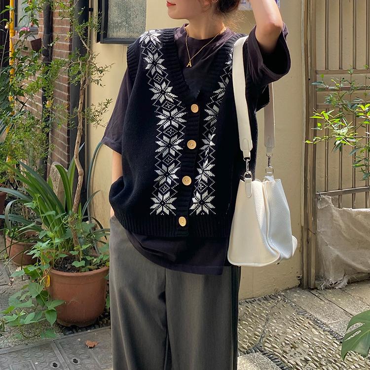 冬のスノーニットベスト【winter snow knit vest】
