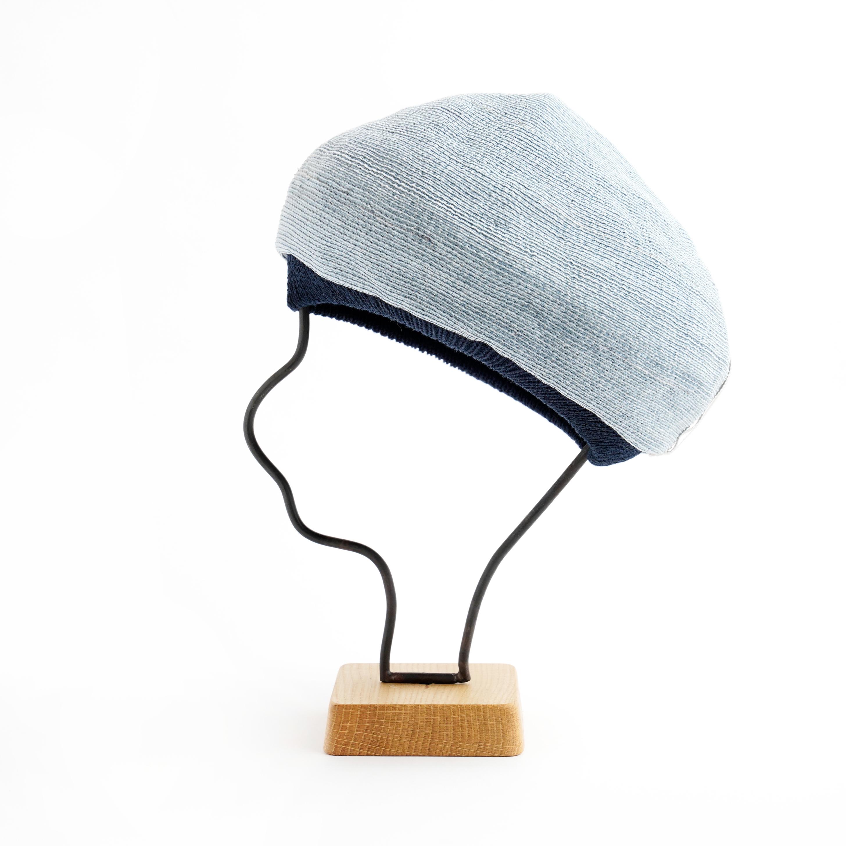 mature ha./paper linen braid denim beret/wash blue