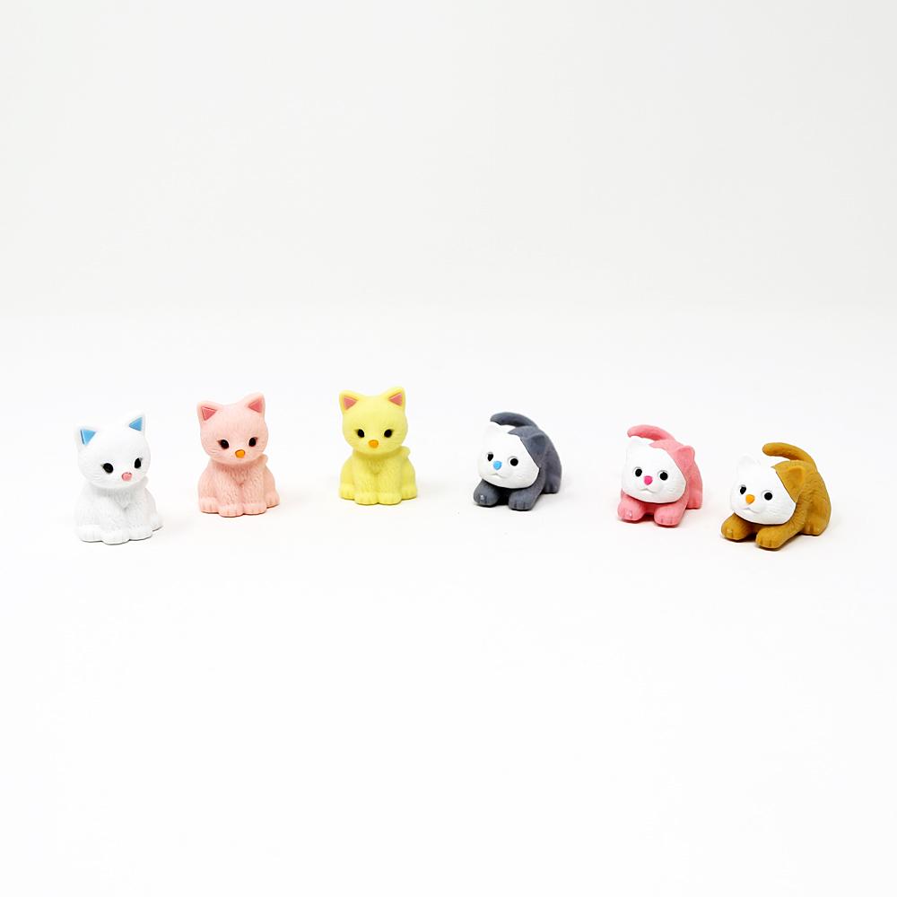 猫消しゴム(おもしろ消しゴム)パステルキャット6種セット