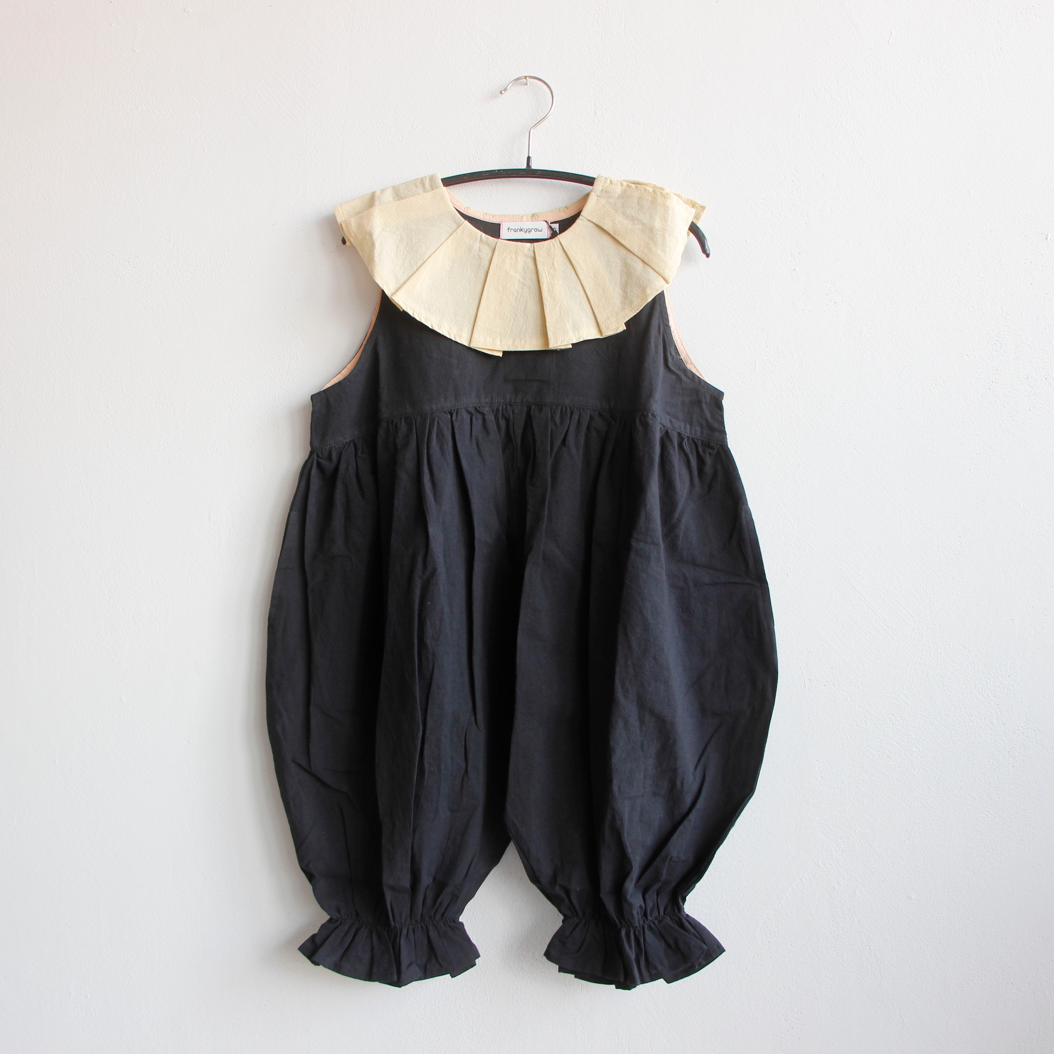 《frankygrow 2020SS》PLEATS COLLAR OVERALL DYED / beige × black × black / S・M・L
