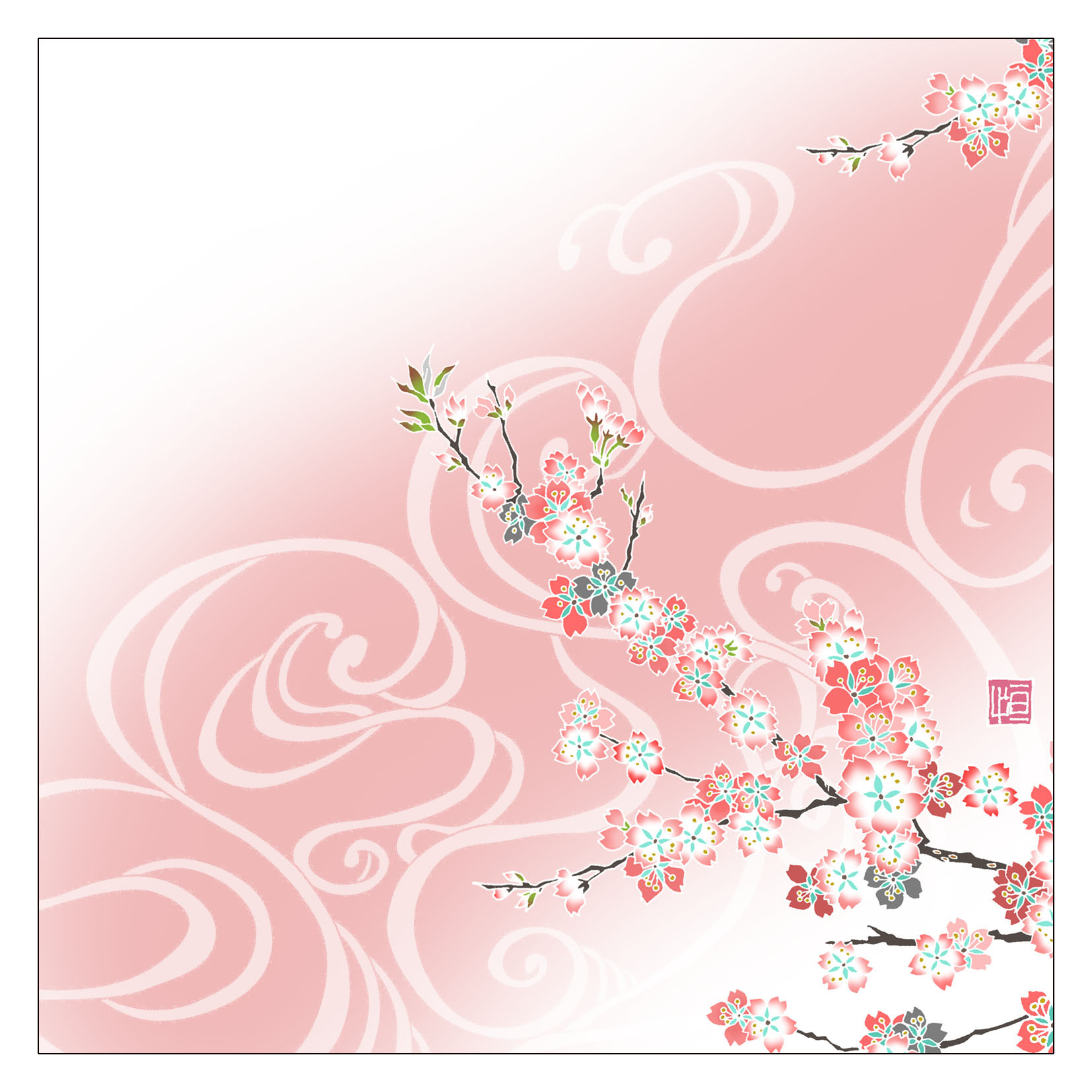 ガラス皿「そめゆら」Y-02 流水 桜01