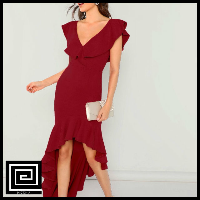 フリルディップフィットドレス
