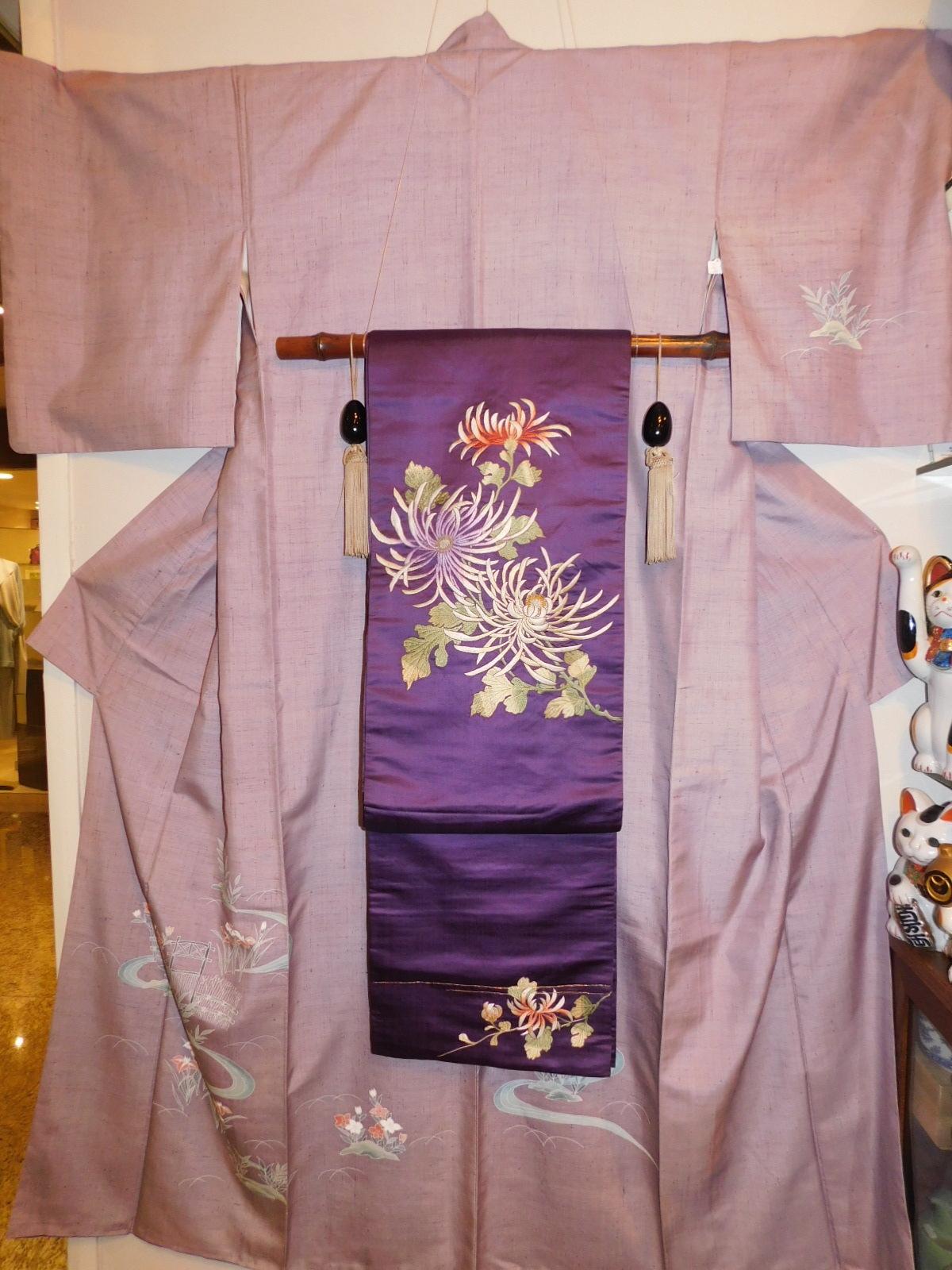 正山生紬付下訪問着 silk Kimono