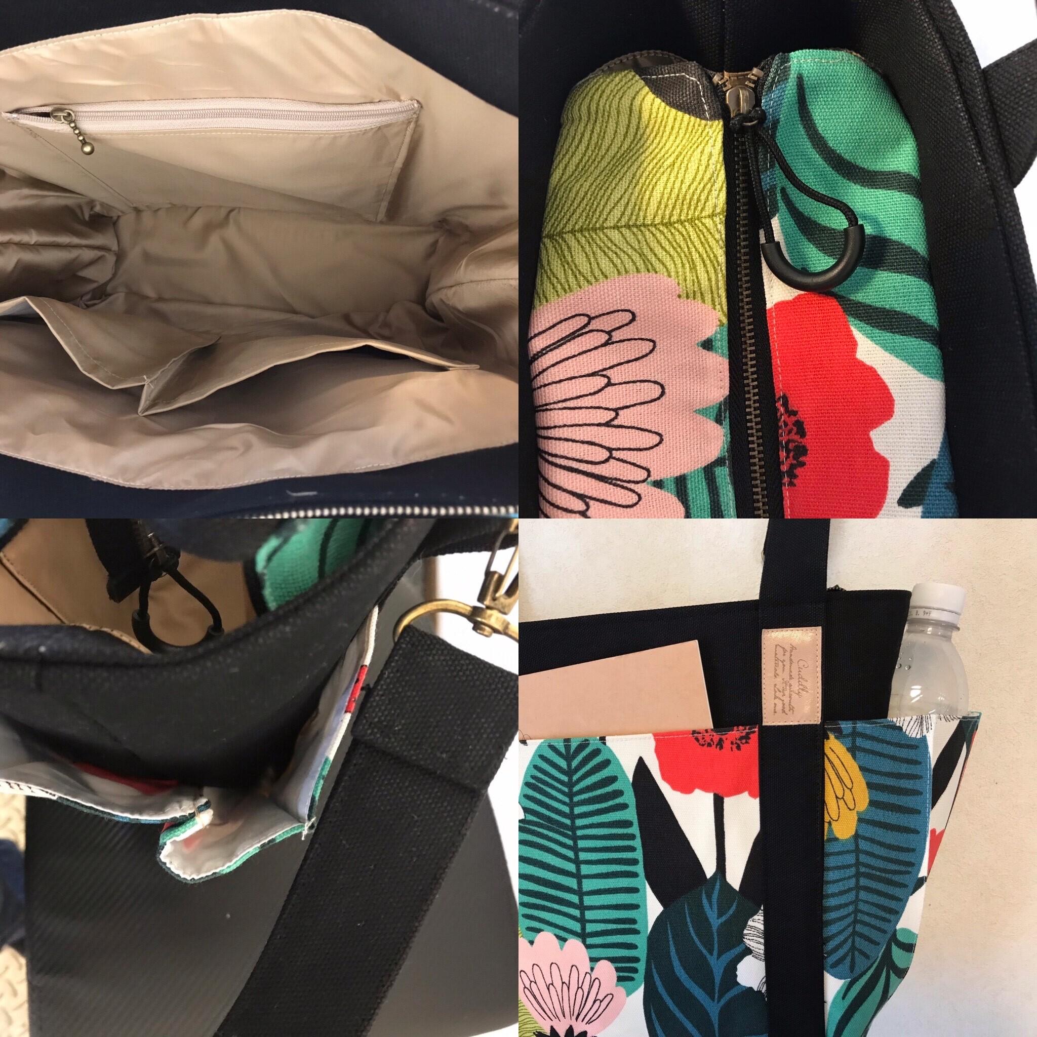 【車椅子対応】輸入北欧花柄✖️8号キャンバスの4つポケットトート