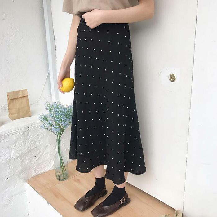 【送料無料】華奢なドット柄 ♡ レトロ ハイウエスト ウエストゴム ロング スカート