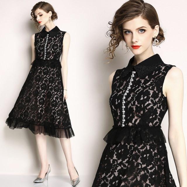 花柄レース&フリル ビジュー ワンピース ブラック ドレス