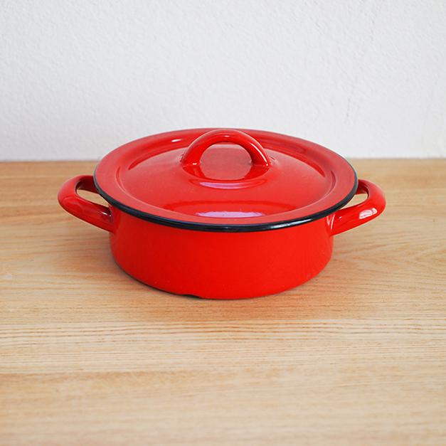 【ドイツ】 ホーロー 両手鍋(小) 赤 レッド