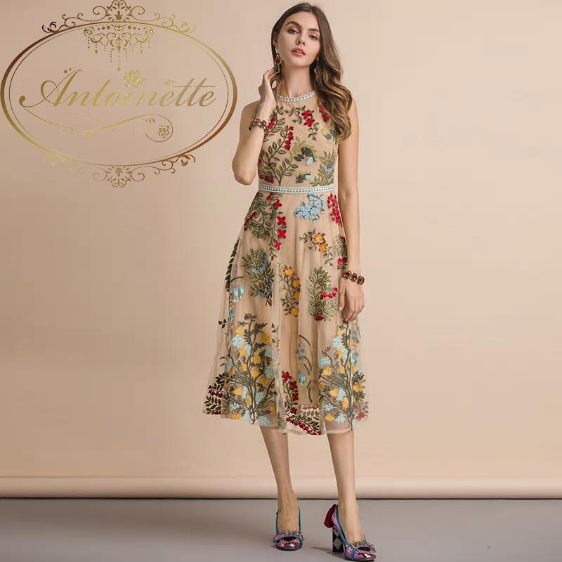 Summer Sleeveless Dress Women's Flower Embroidery Mesh Overlay Temperament Slim Elegant Midi Dresses