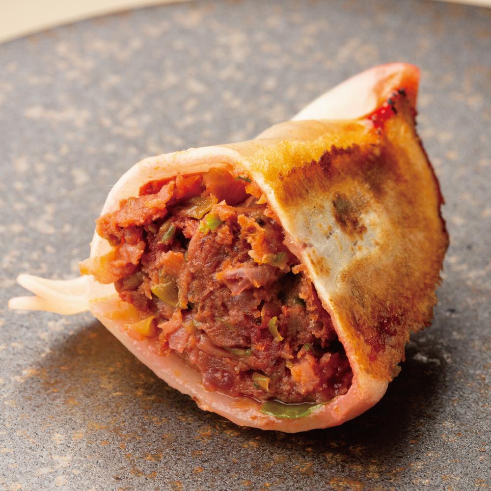 【果皮と餡】ジビエとビーツ・ドライトマトの餃子