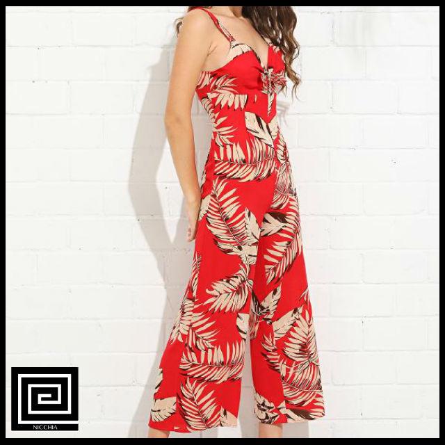 パームリーフプリントノットフロントドレス