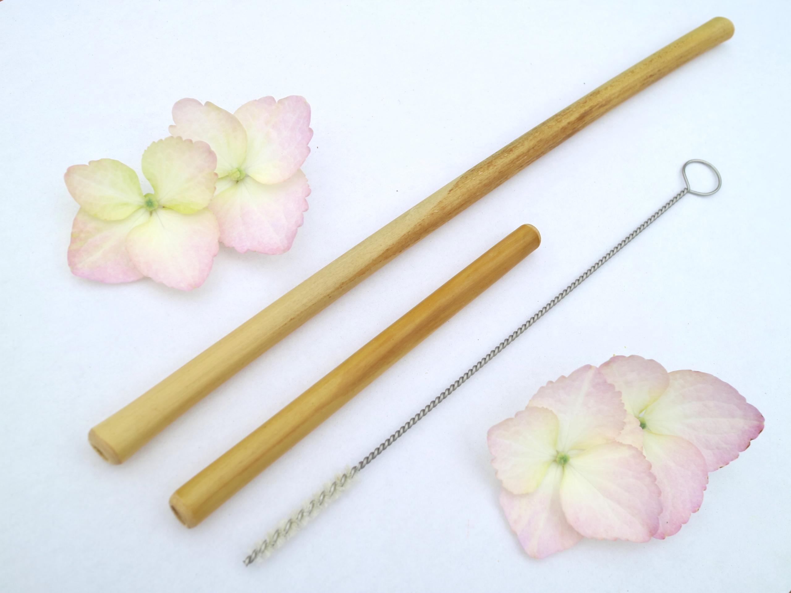 親子竹ストロー20cm・10cm(2本とブラシセット)