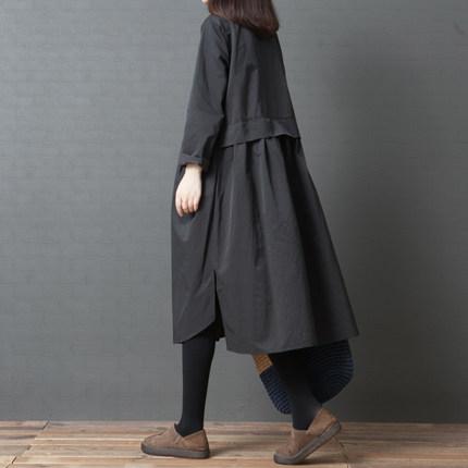 【ワンピース】綿麻無地長袖折り襟秋冬カジュアルワンピース14933447
