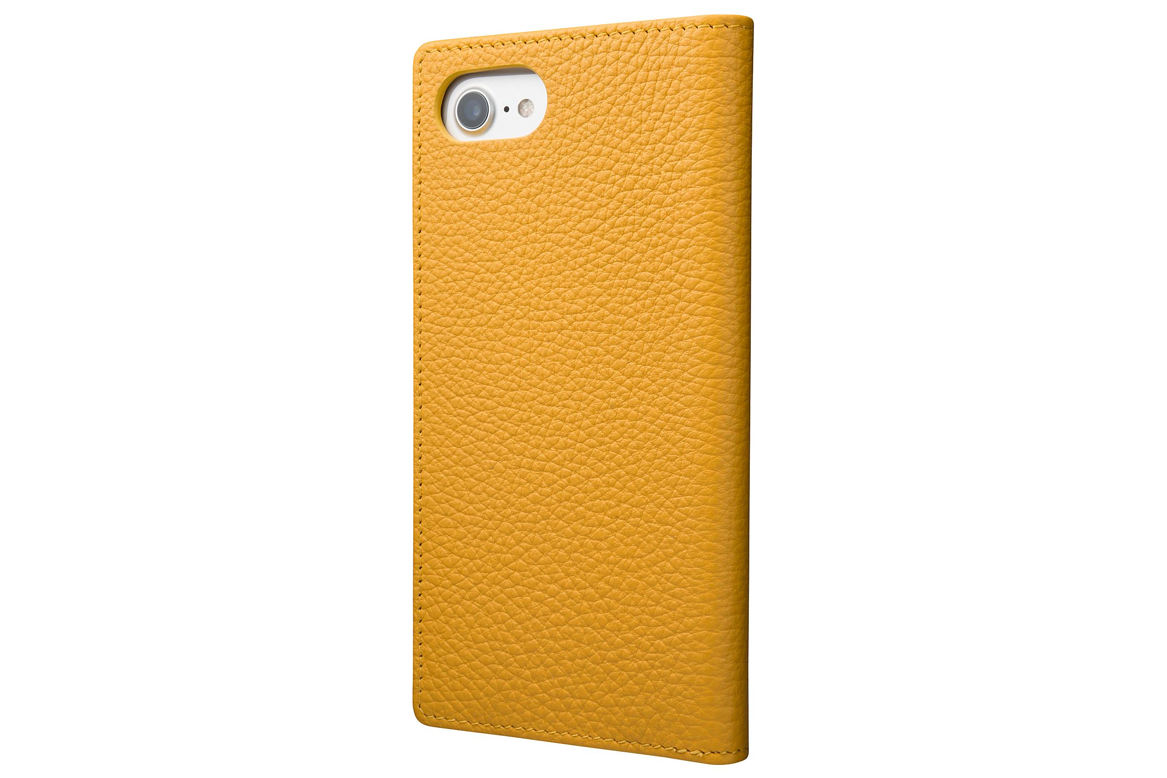 GRAMAS Shrunken-calf Full Leather Case for iPhone 7(Yellow) シュランケンカーフ 手帳型フルレザーケース - 画像2