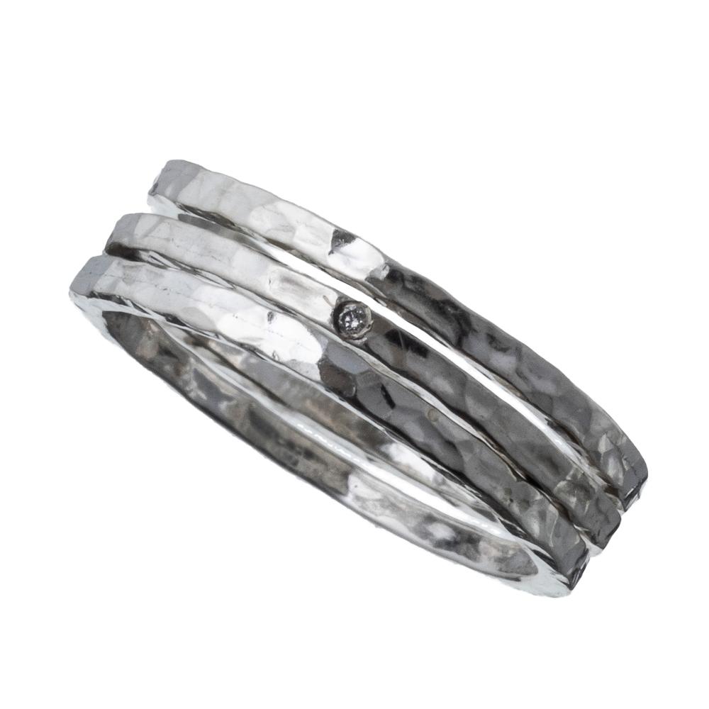 ELR0023Sダイアモンド3連スタッカブルリング