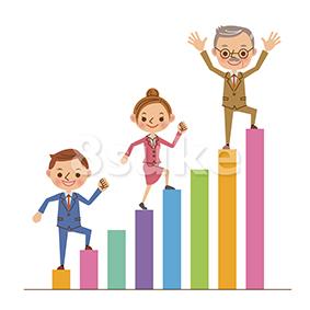 イラスト素材:棒グラフを登る3人のビジネスマン(ベクター・JPG)