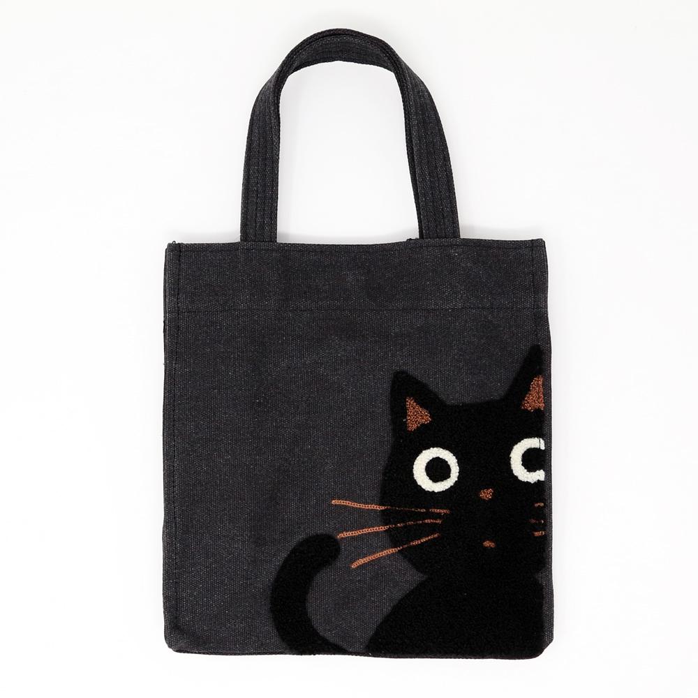 猫トートバッグ(たまちゃんトート)ブラック