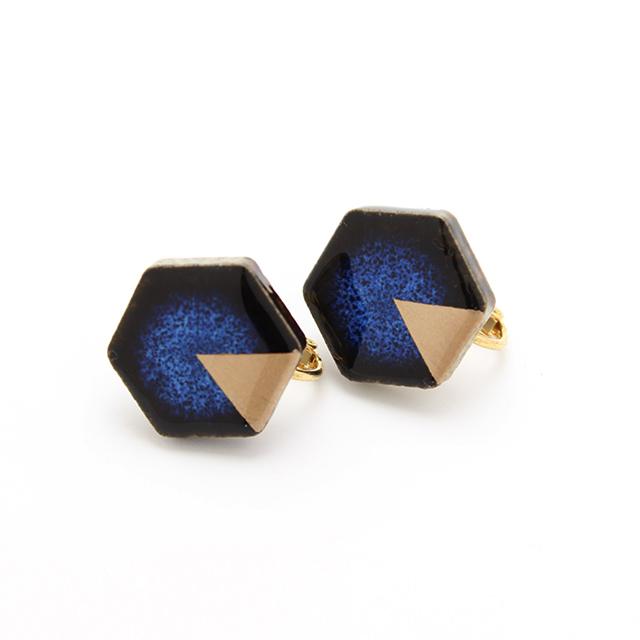 伝統工芸品 美濃焼 六角形 月華 ピアス&イヤリング 藍色