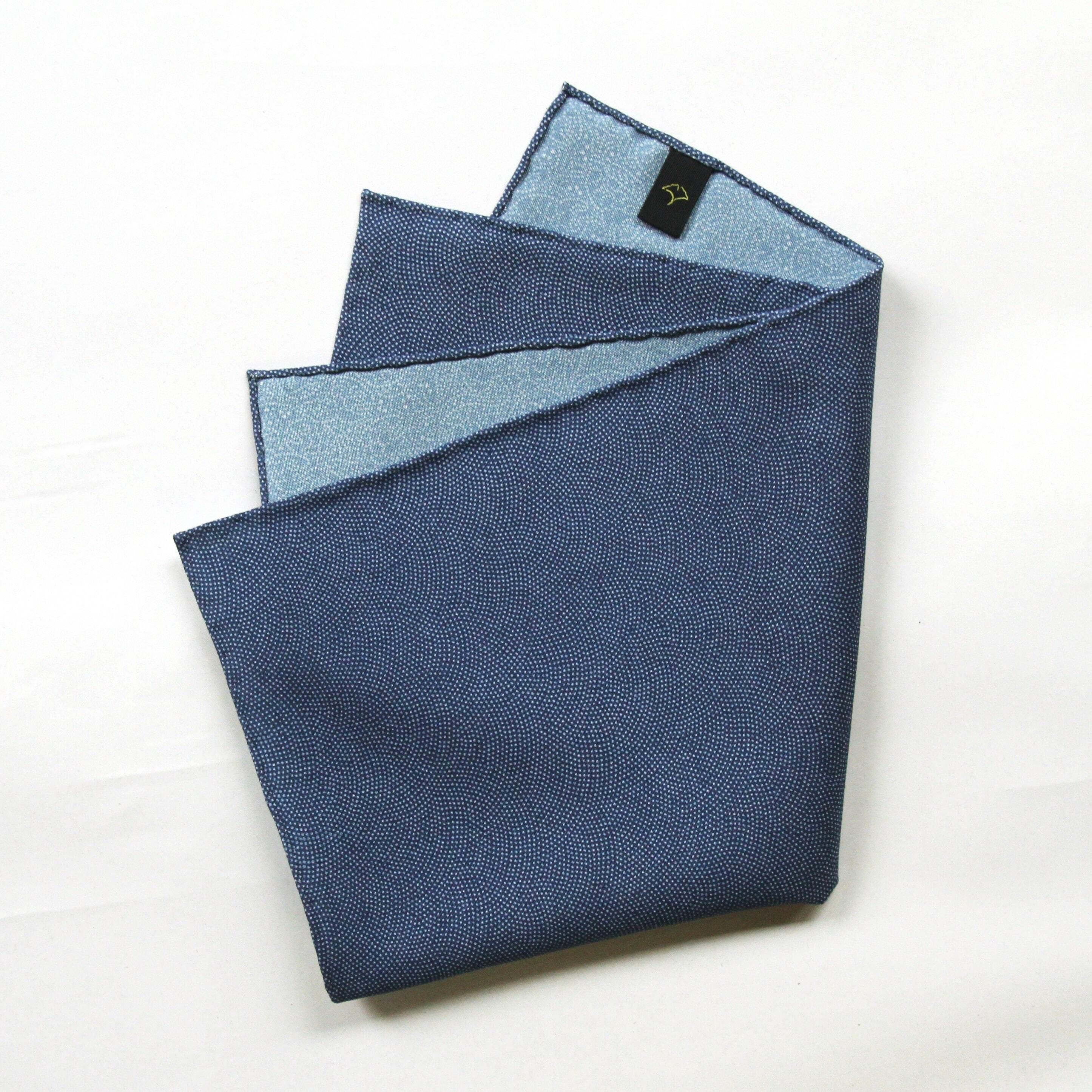 ポケットチーフ〈 鮫と鯛・瑠璃紺色と薄水色 〉