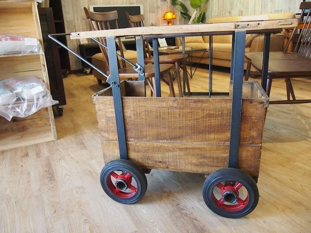 古材 りんご箱ワゴン車輪