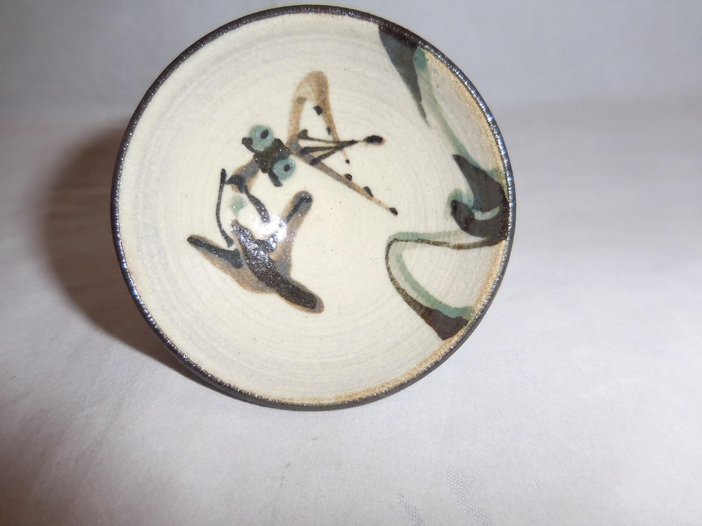 鳥と船絵盃 pottery sake one cup